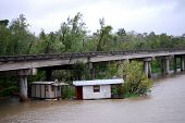 NEW ORLEANS - SEPT 1: Shacks stuck in vegetation float under a freeway during Hurricane Gustav on Se