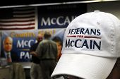 PENSACOLA, FLA - OCT 22: Campaign posters and cap closeup at the Veterans for McCain office in Pensa