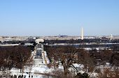 Skyline of Washington DC in winter, as seen from Arlington, Virginia, across the Potomac River. Arli