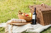 Picnic basket with bottle of wine, fruit and bread on tablecloth. Close up of food and drinks during poster