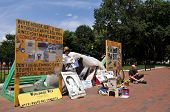 WASHINGTON - JULY 4: Peace vigil by Concepcion Piccioto continues in front of the White House in Was