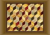 Illustration depicting a marquetry design of repeating cubes in wood veneers.