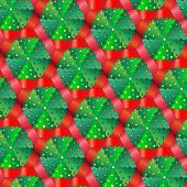 A vector illustration of Christmas trees in pots. Repeating pattern tessellation