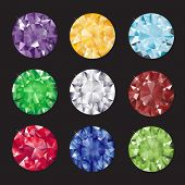 A set of brilliant cut gems on black background. EPS10 vector format.
