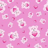 It's a girl! Cute cartoon bears holding a glossy hearts on pink background. EPS10 vector format. Seamless pattern.