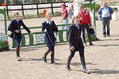 Russland, Moskau aug 8: Sportler konkurrieren in Pferdesports