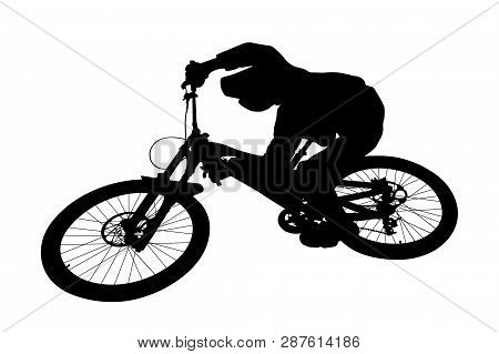 Cyclist Jump Downhill Mountain Biking