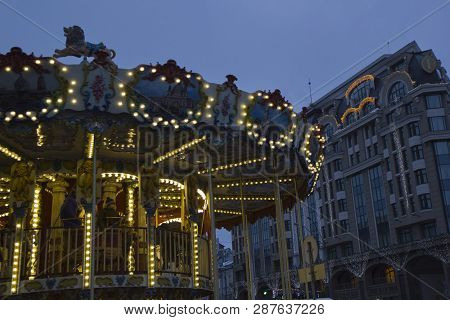 Carousel At Night Beautiful View Evening In