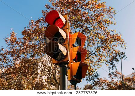 Traffic Light With Red Signal