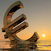 Euro Sinking And Sunset Showing Depression Recession And Economi