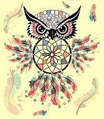 Hand Drawn Ornate Spiritual Symbols, Totemic And Mascot Owl With The Dream Catcher And Mandala. Boho poster
