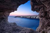 Sea Cave At Dusk On Cape Greco Near Ayia Napa, Cyprus (hdr Image) poster