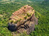 Aerial View From Above Of Sigiriya Or The Lion Rock, An Ancient Fortress And A Palace With Gardens,  poster