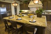 pic of model home  - Modern kitchen with a hardwood floor and granite island - JPG