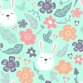 Spring Flowers. Vector Seamless Pattern With Flowers, Leaves And Rabbits. Fresh Pattern For Home Dec poster