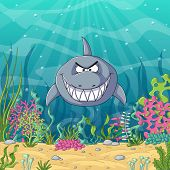 Cartoon Shark With Unterwater Landscape With Plants poster