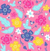 Spring Flowers. Vector Seamless Pattern With Flowers, Leaves And Hearts. Fresh Pattern For Home Deco poster