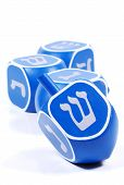 stock photo of dreidel  - photo of blue dreidels - JPG