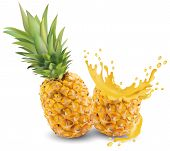 Pineapple Juice Close-up. Fresh Pineapple Juice. Splash With Pineapple On A White Background. Vector poster