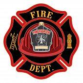 Fire Department Cross Red Helmet Is An Illustration Of A Fireman Or Firefighter Maltese Cross Emblem poster