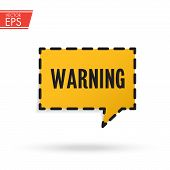 Warning Attention Red 3d Realistic Paper Speech Bubble. Caution Icon Vector Illustration. Exclamatio poster