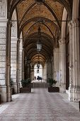 Perspective. Stone Arches Stretching Away. Columns And Vaults Of The Tunnel. Gothic Arches Detail poster