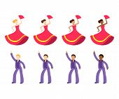 Male And Female Dancer Emoji Set. Disco Dancing Man And Flamenco Dancer Woman With Different Skin To poster