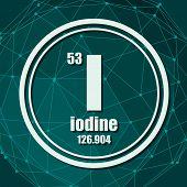Iodine Chemical Element. Sign With Atomic Number And Atomic Weight. Chemical Element Of Periodic Tab poster