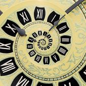 Yellow Retro Old Clock Spiral Abstract Background. Antique Clock Fractal Background. Time Spiral Sur poster
