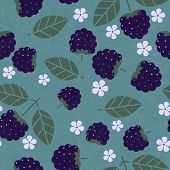 Blackberries Seamless Pattern. Blackberries With Leaves And Flowers On Shabby Background. Original S poster