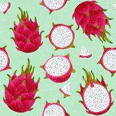Pitaya Seamless Pattern. Red Ripe Dragon Fruit. Whole And Cut Fruit On Shabby Background. Original I poster