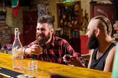 Men Drinking Alcohol Together. Alcohol Addiction. Hipster Brutal Man Drinking Alcohol With Friend At poster
