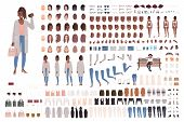 Fashionable Girl Creation Set Or Diy Kit. Collection Of Body Elements, Stylish Clothes, Gestures, Fa poster