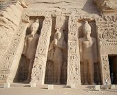 stock photo of aswan dam  - Statues outside Nefertari temple at Abu Simbel in Egypt - JPG