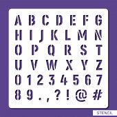 Stencil Alphabet. Numbers, Symbols, Punctuation Marks. Template For Laser Cutting, Wood Carving, Pap poster