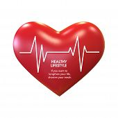 Cardiogram On The Heart . Healthy Lifestyle Concept . World Health Day . poster