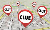 Clues Mysteries Find Answers Map Pins 3d Illustration poster