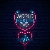 Glowing Neon Medicine Concept Sign With Cardiogram Graph In Heart Shape. World Health Day Banner, Sy poster