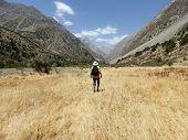 Man Hiking. Wanderlust Time. Man Hiking In Beautiful Fann Mountains In Pamir, Tajikistan. Central As poster