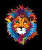 Colorful Kind Wise Lion Illustration Lion - Feline, Animal, Domestic Cat, Safari, Africa poster