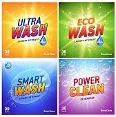 Detergent Packaging Concept Design Showing Eco Friendly Cleaning And Washing. Detergent Package With poster