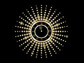 Black And Gold  New Year Clock