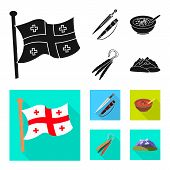 Isolated Object Of Culture And Sightseeing Logo. Set Of Culture And Originality Vector Icon For Stoc poster