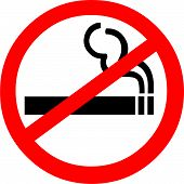 picture of ban  - Vector illustration of a cigarette in a red banned symbol - JPG