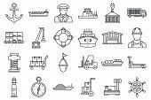 Marine Port Transport Icons Set. Outline Set Of Marine Port Transport Vector Icons For Web Design Is poster