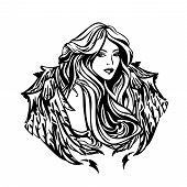 Beautiful Angel Woman With Long Gorgeous Hair And Wings - Art Nouveau Style Celestial Girl Black And poster