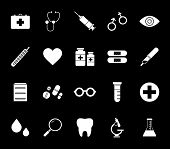 Flat Monochrome Medical Icon Collection For Web Sites And Apps. Minimal Simple Black And White Medic poster