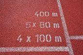 marcas de pista no centro de esporte e atletismo