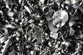 A Lot Of Metal Shavings After Working On A Milling Machine Or Cnc Machine. Metal Shavings Texture poster