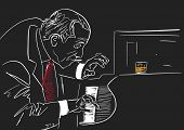Piano Player. White Silhouette On Black Background. Old Smoking Musician Plays The Piano In Club. A  poster